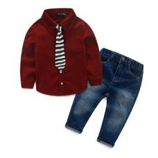 Buy Smart Red Shirt With Tie And Jeans Set from Hopscotch