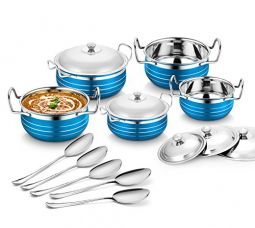 Buy Classic Essentials Stainless Steel Handi Set of 5 With 5 Serving Spoon from Amazon