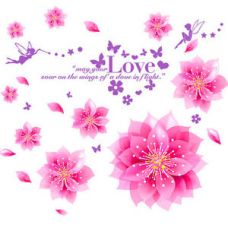 Buy 57139 | Wall Stickers Dreamy Pink Flowers Blowing from Ebay
