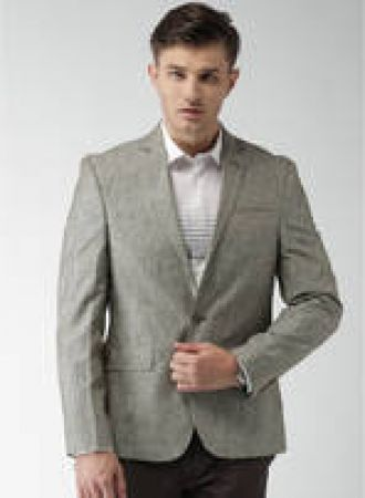 Buy Grey Solid Blazer for Rs. 2600