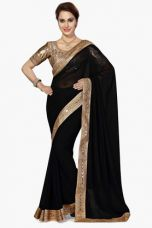 Buy X DEMARCA Womens Solid Saree (Buy any Demarca product & get a pair of matching earrings free)