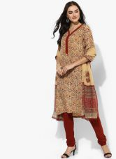 Flat 40% off on Biba Beige Printed Kurta Churidar Dupatta