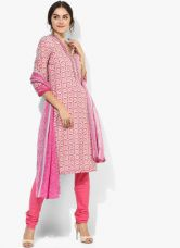 Flat 40% off on Biba Pink Printed Poly Cotton Churidar Kameez Dupatta