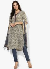 Flat 40% off on Biba Beige Printed Polyester Churidar Kameez Dupatta