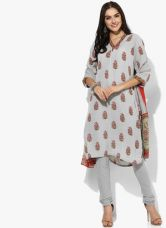Biba Grey Printed Kurta Churidar Dupatta for Rs. 1250