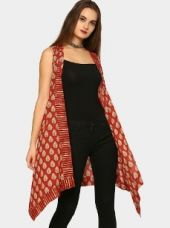 Abof Fusion Brick Red & Beige Printed Regular Fit Long Shrug for Rs. 895