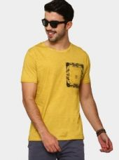 Buy Breakbounce Men Yellow Printed Regular Fit Dyed T-shirt from Abof