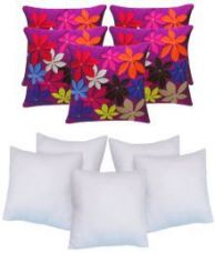 Get 82% off on Sweet Home Set of 5 Polyester Cushion Covers with Fillers 40X40 cm (16X16)