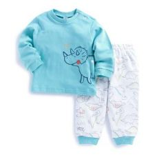 Buy Hippo Print Blue T-Shirt and Pant Set from Hopscotch