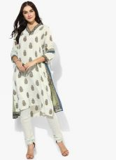 Get 50% off on Biba Off White Printed Polyester Kurta Churidar Dupatta