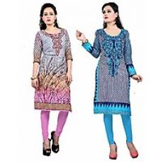Get 69% off on Nakoda Creation Pack of 2 Women's Cotton Unstitched  Multicolor Printed Kurti Fabric (Fabric only for Top)