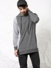 SKULT Men Grey Color Block Relaxed Fit Hoodie Tee for Rs. 1,199