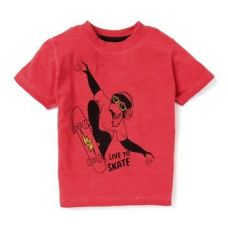 Flat 60% off on Cool Red Live To Skate Print T-Shirt