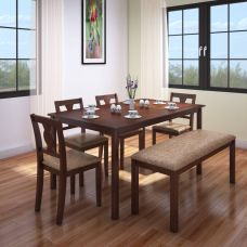 Buy HomeTown Artois Solid Wood 6 Seater Dining Set  (Finish Color - Dark Walnut) for Rs. 21,499