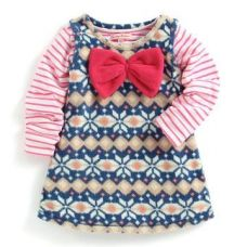 Buy Blue Jacquard Straight Dress with Stripes T-Shirt from Hopscotch