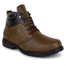 Buy BUWCH Mens Synthetic Leather Boot for Men & Boys | Casual Boot | Ankle Length Boot | Tan Color Boot from Amazon