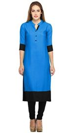 Varibha® Blue & Black Cotton Free Size Plain Kurti For Women / Girl | Low Price Kurti Below 300 | Best Deal Of The Day | Best Offer Of The Day | diwali offers for women dresses | diwali offer 2017 | today best offers for Rs. 299