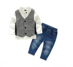 Buy White Shirt With Waist Coat And Jeans Set from Hopscotch