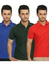 Lime Offers Combo of 3 Men's Polo T-Shirts, multic for Rs. 630