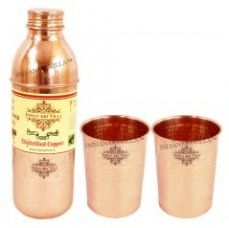Get 72% off on Pure Copper Set Of 1 Water Bottle 700 Ml With 2 Hammer Glass 300 Ml Each Storage Water Drinkware