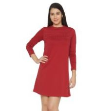 Flat 15% off on Cult Fiction Maroon Color Round Neck Long Sleeves Cotton Dress For Womens