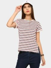 Buy abof Women White & Coral Pink Striped Regular Fit High-low T-shirt from Abof