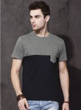 Flat 50% off on Black Solid Round Neck T-Shirt