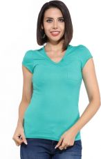 Jealous Casual Puff Sleeve Solid Women Blue Top for Rs. 149