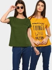 Buy abof Women Military Green & Mustard Yellow Pack of 2 Regular Fit Tops from Abof