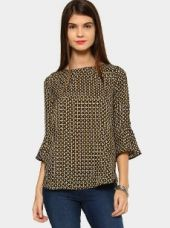 Abof Women Black & Mustard Yellow AOP Regular Fit Flute Sleeve Top for Rs. 795