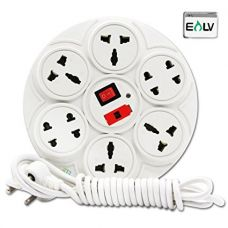 ELV Extension Board 6 Amp 8 Plug Point with Master Switch, LED Indicator, Extension Cord (2.7 Meter) - White for Rs. 299