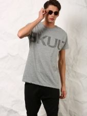 Buy SKULT Men Grey Melange Printed Relaxed Fit T-shirt from Abof