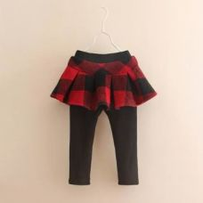 Buy Trendy Red Leggings With Attached Skirt from Hopscotch