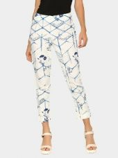 W Women Off-white & Blue Linen Blend Printed Regular Fit Casual Pants for Rs. 1,299