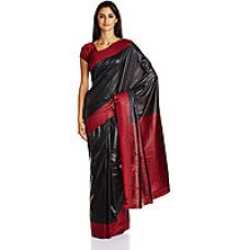 Buy Parchayee Black Art Silk Plain Saree With Blouse from ShopClues