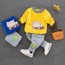 Buy Yellow Teddy Print Sweatshirt And Pant Set from Hopscotch