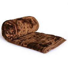 Little India Luxurious Embossed Korean Mink Microfibre Double Blanket - Brown for Rs. 650