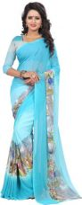 Buy HEENA Graphic Print Bollywood Georgette Saree  (Blue) from Flipkart