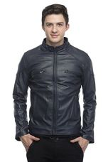 Buy Zacharias Men's Faux Leather Jacket Large (Blue) from Amazon