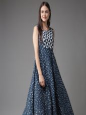 Buy HERE&NOW Women Blue & Off-White Printed A-Line Kurta from myntra
