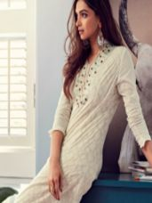 Buy All About You from Deepika Padukone Off-White Embroidered Jacquard Kurta from myntra