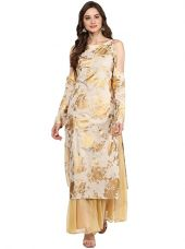Buy Ahalyaa Dusty Gold Hand Printed Cotton Cold Shoulder Kurta from Amazon