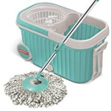 Buy Spotzero by Milton Elite Spin Mop with Bigger Wheels & Auto Fold Handle for 360 Degree Cleaning (Aqua Green, Two Refills) from Amazon