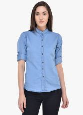 Buy Mayra Blue Solid Shirt for Rs. 419