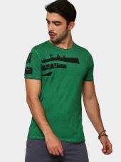 Breakbounce Men Green Printed Regular Fit Dyed T-shirt for Rs. 899