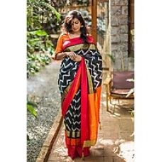 Flat 76% off on Indian Beauty Black  Orange Cotton Printed Saree With Blouse