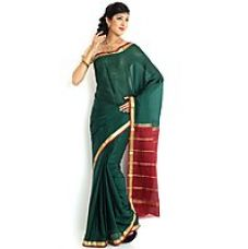 Buy Sudarshan Silks Brown Raw Silk Self Design Saree With Blouse for Rs. 5,079