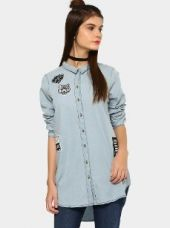 Buy abof Women Sky Blue Badge Patch Relaxed Fit Denim Shirt from Abof