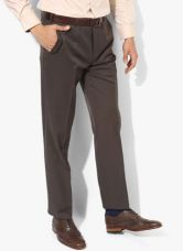 Flat 50% off on Park Avenue Brown Solid Regular Fit Formal Trouser