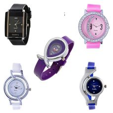 Horse Head Jwellery Bracelet Style Combo of 5 Analogue Multicolor Dial Womens Watches-D55 for Rs. 549